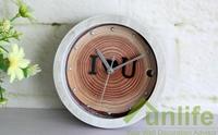 funlife 12cm 4.17in dia White Creative imitating-wood Quartz Clock I Love You Alarm Clock Valentine's Day gift wc1394