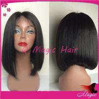 lace front Human Hair Wigs Virgin Hair Brazilian human hair bob wig short middle part lace front bob wig