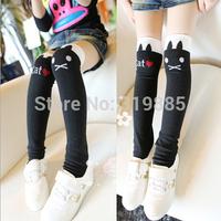 5 pairs/lot 2014 new lovely cat girls Stockings children Cotton Knee High Stockings for 3-8 years girls