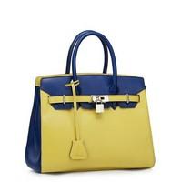 Amazing Time Series 100% Genuine Top Cow Leather Contrast Color Platinum Handbag Fashion Bag Women message bags