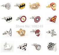 Stainless Steel Crystal  Mens Cufflinks Spider Man Iron Man Crown Super Man Wedding Gift Mens Shirt Cuff Links Accessories