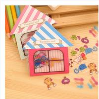 FREE SHIPPING DIY Sticker Cartoon House Adorable Creative Mobile Phone Decoration Gift 16packs/lot say hi 41105