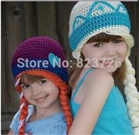 2014 frozen Anna and Elsa hat Girl Winter hat Casual Elsa Anna Fashion Cartoon Frozen Knitted Wool Cap Skullies Beanies Hats