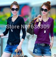 Hot sale!!!Women Clothing Elastic Solid Tops Milk Silk V-Neck T-shirt Long Sleeve T- Shirt 8 color to choose