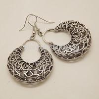 EQ132 Tibetan Silver 5.7cm*3.5cm Big Hollow Round Vintage Earrings For Women Girls 2014 New Jewelry Bijouterie