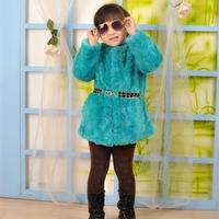 2014 Autumn Winter Wear Clothes Retail  Girls Faux Fur Rabbit Princess Coats Children Outwear Snow Wear  Clothes Baby Jackets