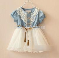 children clothing girls dress Denim  lace pleated belt decoration princess dress kids dresses for girls free shipping
