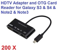 200pcs/Lot Best Price HDTV Adapter OTG Card Reader for Samsung Galaxy S3 S4 Note 2 N7100 Note 3 MHL to HDMI HDTV