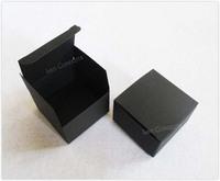 Free Shipping DIY Folded Favor Handmade Soap Box Gift Package - 7.5 x 7.5 x 5cm black 100pcs/lot LWB0440