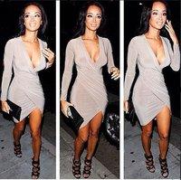 2015 Summer Women's Long Sleeve Deep V-neck Bandage Dress Vestidos Sexy Women Splicing Night Club Party Bodycon Dresses LQ1063