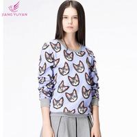 Autumn Winter Fashion Casual Ladies T shirts Women's Clothing Cute Cat Printed Long Sleeve Cotton T shirt Plus Size Dropshipping