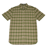 Exofficio material male green plaid quick-drying short-sleeve shirt thickness fiber