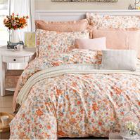 2015 Spring Home Textile 100% cotton Orange Floral printed designer's bedding set 4 pcs bed sheet/duvet cover set king/queen