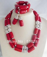 MH 2015// Free Ship!!! African Wedding necklace Set ,red Coral Necklace Bracelet And Earring Set