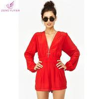 Macacao Feminino Long Sleeve Shorts Deep V Sexy Jumpsuits Women 2014 New Summer Fashion Casual Brand Clothing HOT S M L XL XXL