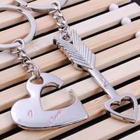 One Pair Romantic Love Zinc Alloy Silver Heart Arrow Keychain Key Ring Fashion New 2014 Couple Key Chain Birthday Gift