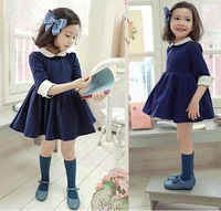 2015 retail Korean version of the temperament girls princess doll collar sleeve tutu dress girls beautiful navy/red dresses