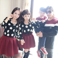 Free shipping! Fashion autumn family tendrils 2014 family set fashion one-piece dress clothes for mother and daughter