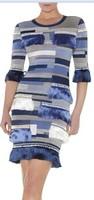 High Quality 2014 Blue Mid Sleeve HL Vestido de festa dresses Celebrity Bandage Dresses Drop Shipping