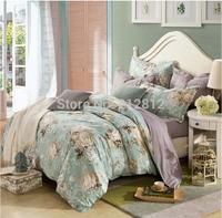 2015Spring HOME TEXTILE 100% cotton 4pcs bedding set designer green floral wedding quilt cover bed sheet pillow cases king queen