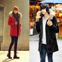 2014  fashion men's Korean version of slim Leopard print trench coat jacket couples casual warm down coat