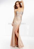 Handmade empire waitline champangne dress long 2015 prom dresses debutante gown bg_95060