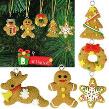 6pcs/pack Beautiful Polymer Clay Drop Pendants Christmas Tree Baubles cristmas Tree Decoration Hanging Ornament Decor(China (Mainland))