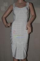 2014 New Arrival Kim Kardashian HL White V-neck dresses party evening elegant Vestido de festa dresses Celebrity Bandage Dress