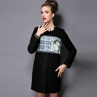 S-5XL Brand higth quality Ladies New Plus Size Autumn Pearl Beaded Print Long Sleeve Casual Dress Women Winter Woolen Dresses