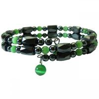 New Fashion Friendship Handmade Women's Semi Precious Hematite Stone Steel Metal Wire Magnetic Bracelet