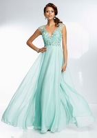 V-neck A-line long evening dress with open back 2014 made in china bg_95062