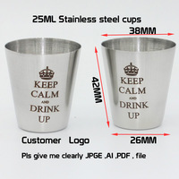 500PCS/LOT  customer logo of  25 ml stainless steel cups
