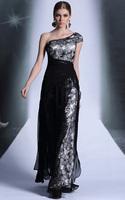 CJ0189 Hot Selling Cap Sleeve Lace One-shoulder Floor Length Vestidos Para Festa Formal Evening Gowns Long Prom Dresses 2015