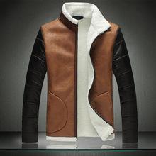 Newest Fashion Warm Winter Genuine Leather Jacket Parkas men,Fur Lined motorcycle Leather Jacket Parkas Mens ,Sheepskin Coats(China (Mainland))