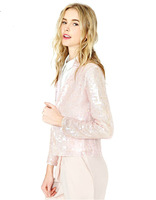 New Arrival Fashion Design ladies cute pink full sleeve Covered Button short coat ladies elegance pink Sequins jacket coat