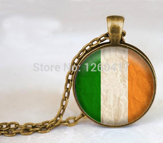 Handcrafted Fine Jewelry,Irish Flag Glass Dome Pendant Necklace,Vintage Choker Necklace,Ireland Bijuterias on Aliexpress(China (Mainland))