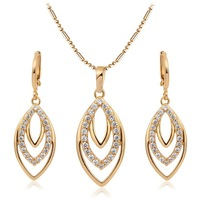 18K Gold Plated Curved Oval Channel Pave Clear CZ Earrings Pendants For Necklace Fashion Women Jewelry Sets Black Friday Gift