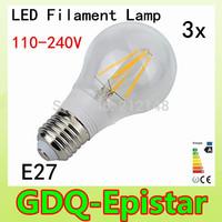 3x Energy saving E27 4W 8W Led Filament Light Bulb 360 Degree white,warm white lamp bulbs for home/indoor/kitchen AC110-240V