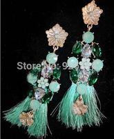 Luxury European and American fashion personality tassel rhinestone earrings vintage gem woman hip hop jewelry trend