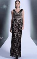 CJ0196 Top Quality Retro Sheath V-neck Lace Floor Length Vestidos Largo Women Evening Dress Long Dresses 2015