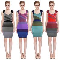 2014 Colorful BacklessCute Girl Vestide de festa HL Kim Kardashian Celebrity Evening Party bandage dresses drop shipping