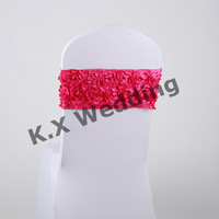 Fuchsia Color 50PCS Back With Satin Rosette Fabric Spandex Lycra Chair Band For Chair Cover
