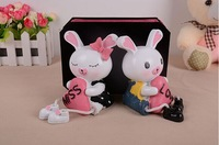 Rabbit couple resin craft decorate gift for present