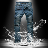 2015 new male jeans/knee level fold/do old blue jeans balma * in foot locomotive model
