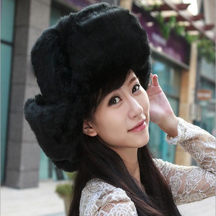 High quality women winter large plush russian cap 6 colors imitation rabbit fur hat warm Bomber Hats Unisex (100607)(China (Mainland))