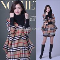 2014 Fashion Brand Coats Women yarn plaid collar cloak revestimento das mulheres wool Blends overcoat woolen outerwear Hot Sale