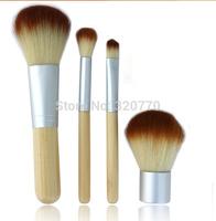 Natural Bamboo Handle Foundation Makeup Brushes Set Kits Powder Cosmetics Tools Kit Powder Blush Brushes with Hemp linen bag