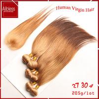 ombre 3 tone T27/30/4 Indian straight virgin hair 6pcs lot,6a unprocessed straight indian ombre hair with closure,100 human hair
