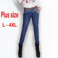 2014 XXXXL plus size women skinny jeans big size slim fit pencil pants cotton denim trousers free shipping!
