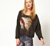Indian chief punk skull print pattern round neck long-sleeved Hoodies temperament